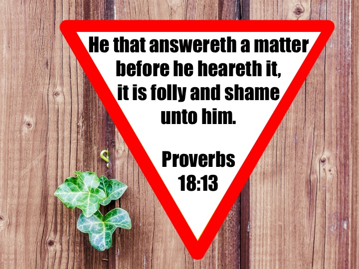 Proverbs 18 13 English