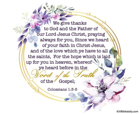 Colossians 1-3-5 KJV