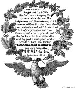 Deuteronomy 8-11-14 KJV