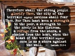 Isaiah 25-3-4 KJV