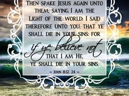 John 8-12, 24 KJV